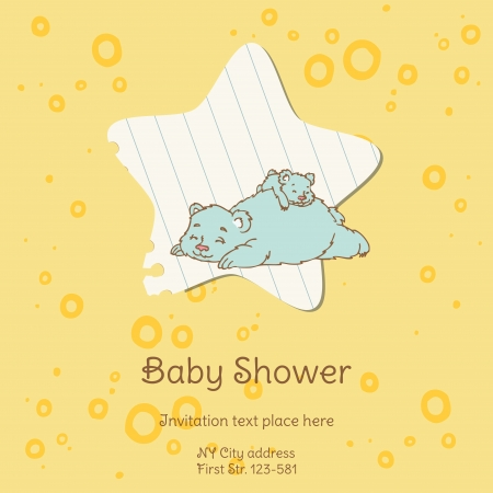 Baby Shower Card with Bear Vector