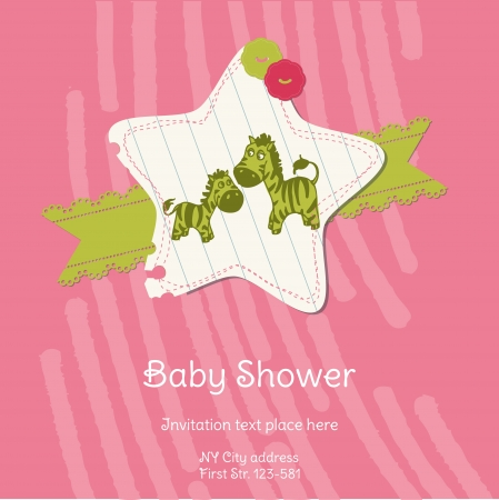 Baby Shower Card with Zebra Stock Vector - 13613194