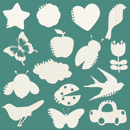 Set of Paper Tags - for design and scrapbook - in vector  Vector