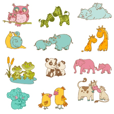 cute cartoon boy: Baby and Mommy Animals  - hand drawn - in vector