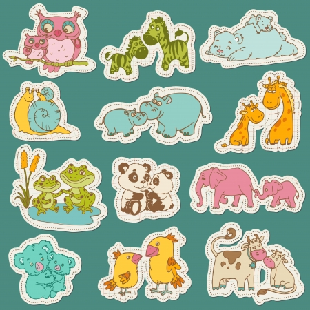 Baby and Mommy Animal Set on paper tags - for design and scrapbook - in vector Vector