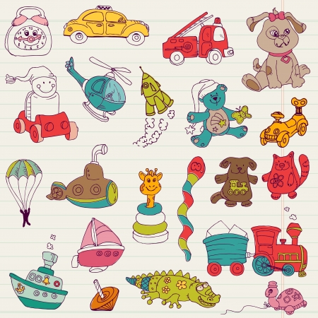 Baby Toys Doodles - for design and scrapbook - in vector Vector