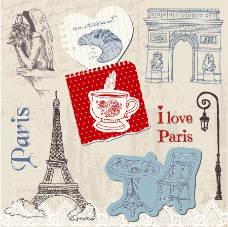 Scrapbook Design Elements - Paris Vintage Set - in vector Stock Vector - 13663896
