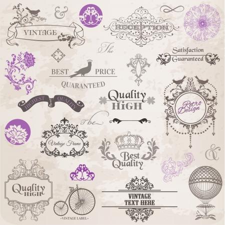 vendange: Vecteur d�finir des �l�ments de conception et de la d�coration calligraphiques page, la collecte de cadre de cru avec des fleurs