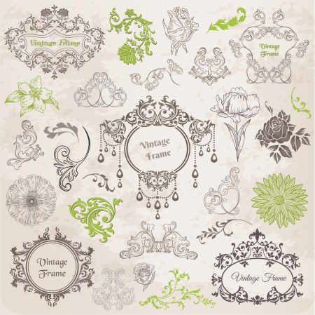 Vector Set  Calligraphic Design Elements and Page Decoration, Vintage Frame collection with Flowers Stock Vector - 13663899