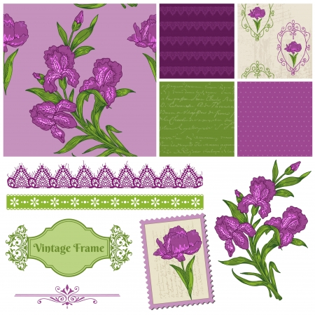 Scrapbook Design Elements - Iris Flowers in vector Vector