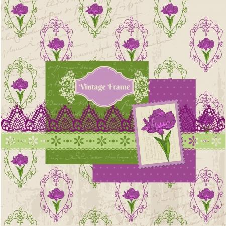 Scrapbook Design Elements - Iris Flowers in vector Stock Vector - 13663902