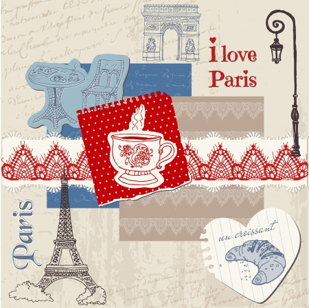 sightseeings: Scrapbook Design Elements - Paris Vintage Set - in vector Illustration