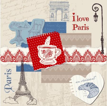 sightseeing: Scrapbook Design Elements - Paris Vintage Set - in vector Illustration