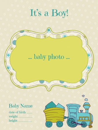 Baby Boy Arrival Card with Photo Frame  - in vector Stock Vector - 13663895