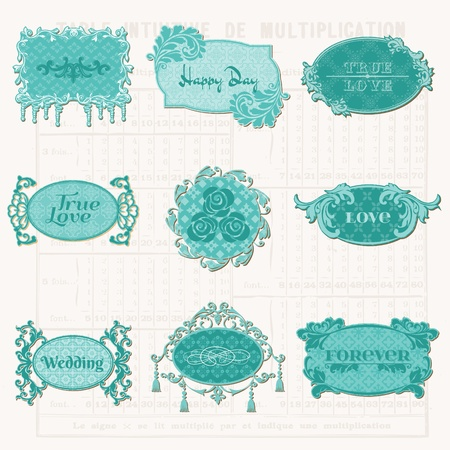 Vintage Design Elements for Scrapbook - Old Tags and Frames - in vector Vector