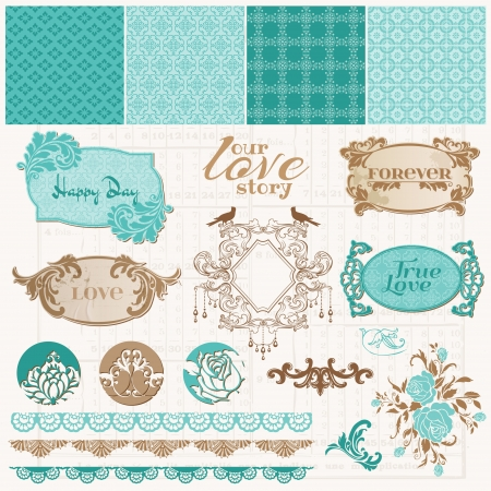 Scrapbook Design Elements - Vintage Love Set - in vector Stock Vector - 13663906