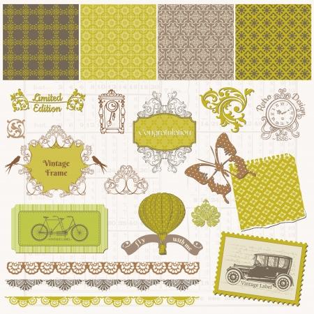 Elementos de diseño del libro de recuerdos - Establecer tiempo de la vendimia Ilustración de vector