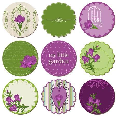 Scrapbook Design Elements - Tags with Iris Flowers in vector Vector
