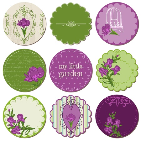 Scrapbook Design Elements - Tags with Iris Flowers in vector