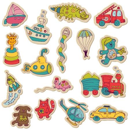 juguetes: Juguetes para beb�s - pegatinas para el dise�o y libro de recuerdos Vectores