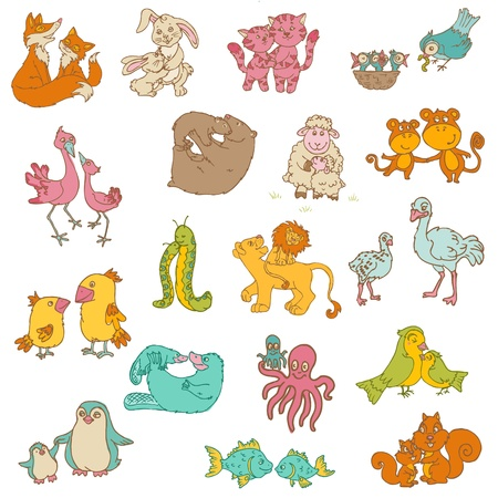 Baby Animals with Moms - for your design and scrapbook  Vector