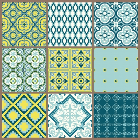 Seamless backgrounds Collection - Vintage Tile - for design and scrapbook  Vector