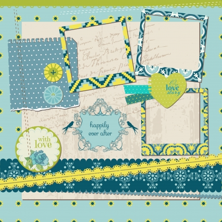 Scrapbook Design Elements - Vintage Tile with frames Vector