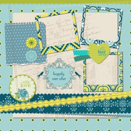 Scrapbook Design Elements - Vintage Tile with frames Vector