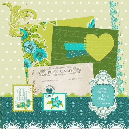 Scrapbook Design Elements - Blue Flowers Vector