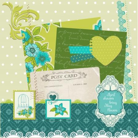 Scrapbook Design Elements - Blue Flowers Vector
