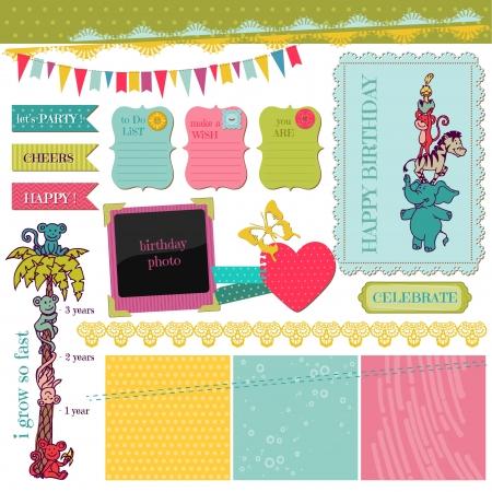 Scrapbook Design Elements - Birthday Baby Set  Vector
