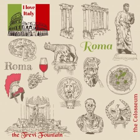 roma antigua: Juego de Garabatos de Roma - para el diseño y libro de recuerdos - dibujados a mano Vectores