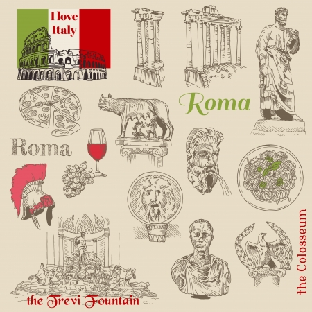 Set of Rome doodles - for design and scrapbook - hand drawn  Vector