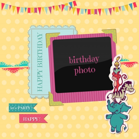 Birthday Card with Photo Frame - for scrapbook, congratulation  Vector