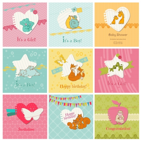 cute baby girls: Set of Colorful Baby Cards  - for arrival, birthday, congratulation, invitation