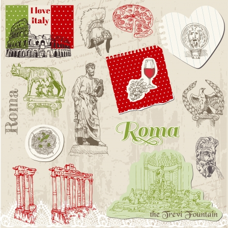 Set of Rome doodles Vector