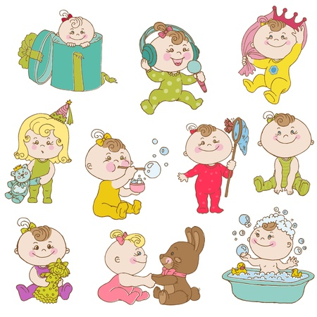 cute doodle: Baby Girl Cute Doodle Set Illustration