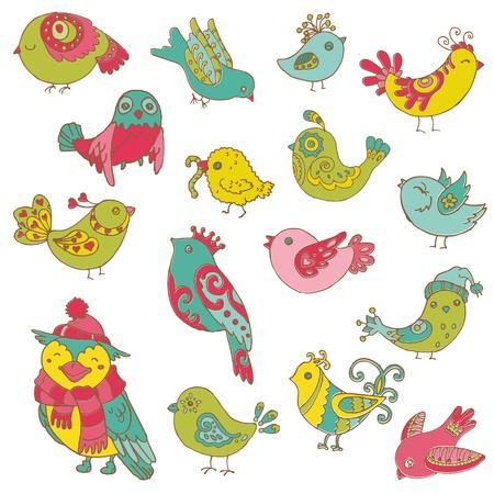 pajaro caricatura: Colección Los pájaros de colores Doodle - dibujado a mano en el vector - para el diseño y libro de recuerdos