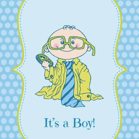 Baby Boy Shower and Arrival Card -  Vector