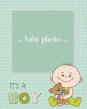 Baby Boy Arrival Card with Photo Frame in vector Vector