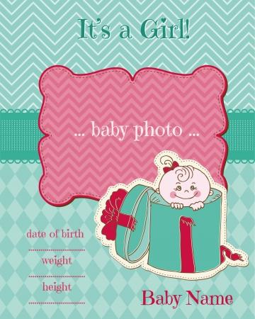 Announcement Baby Girl Card Vector