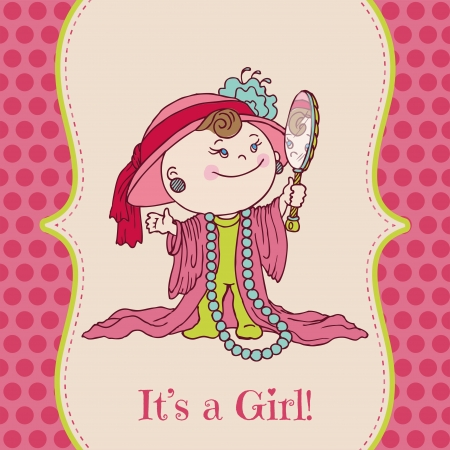 Baby Girl Shower and Arrival Card - Illustration