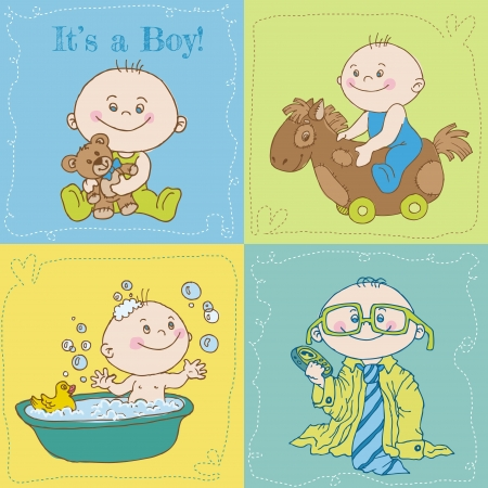 Baby Boy Arrival Card or Baby Shower Card  Stock Vector - 13965245