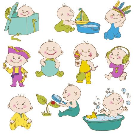 Baby Set Boy Doodle - para las tarjetas de diseño, libro de recuerdos, de ducha o de llegada
