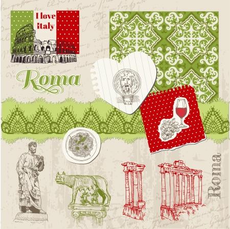 roma antigua: Elementos de diseño del libro de recuerdos - Vintage Set Italia Doodle - dibujado a mano