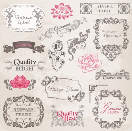 Calligraphic Design Elements and Page Decoration, Vintage Frame collection with Flowers Stock Vector - 14047863
