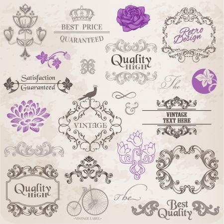 Elementos Caligraf�a Dise�o y Decoraci�n p�gina, la recopilaci�n marco del vintage con flores