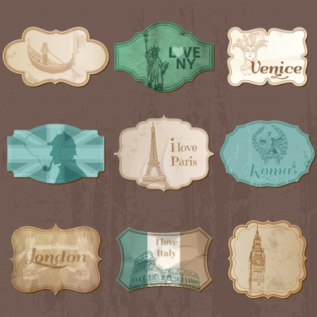 venezia: Vintage Design City Elements for Scrapbook - Old tags and frames