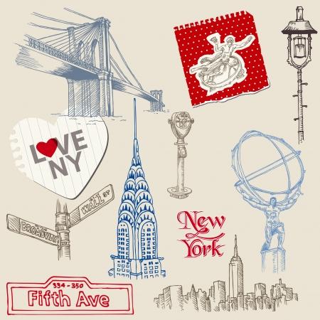 hand drawn: Scrapbook Design Elements - New York Doodle Set  Illustration