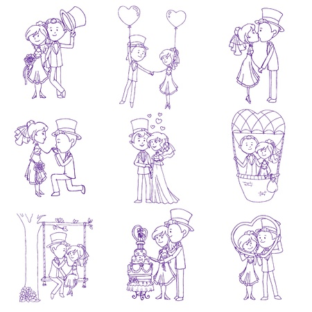 engagement party: Wedding Doodles - Design Elements - for Scrapbook, Invitation