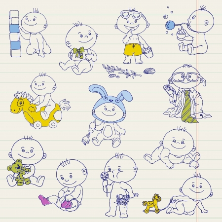 Baby Boy Doodle Set - for design, scrapbook, shower or arrival cards Vector
