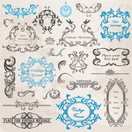 Calligraphic Design Elements and Page Decoration, Vintage Frame collection with Flowers Stock Vector - 14269217
