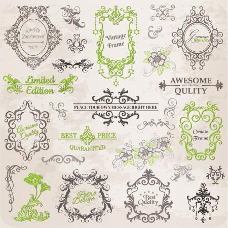 Elementos Caligrafía Diseño y Decoración página, la recopilación marco del vintage con flores