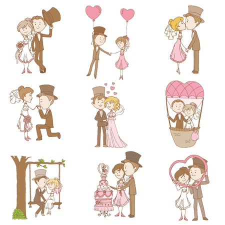 wedding cake: Bride and Groom - Wedding Doodle Set - Design Elements for Scrapbook, Invitation